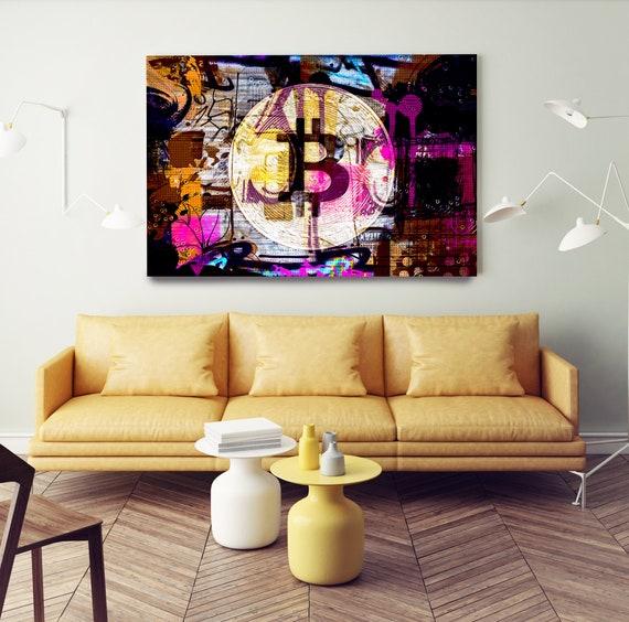 Yellow Purple Bitcoin Graffiti Abstract Canvas, Crypto currency Bitcoin Graffiti, Art Painting Print on Canvas, Bitcoin Artwork Canvas Print