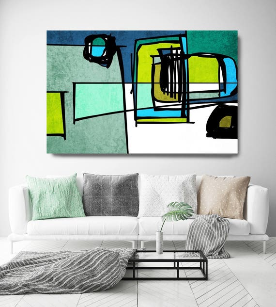 "Vibrant Colorful Abstract-75. Mid-Century Modern Green Blue Canvas Art Print, Mid Century Modern Canvas Art Print up to 72"" by Irena Orlov"