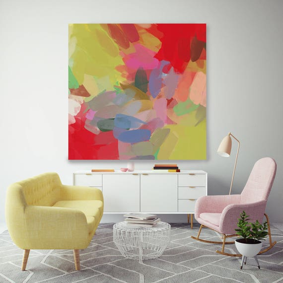 """Kaleidoscope N 138. Geometrical Abstract Art, Wall Decor, Large Abstract Red Green Contemporary Canvas Art Print up to 48"""" by Irena Orlov"""