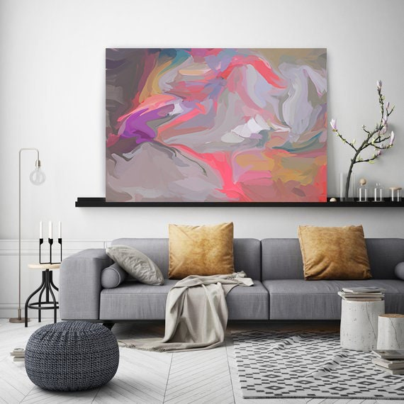 Forces 2, Hot Pink Radiant Art, fluid art, Abstract painting, grey painting, modern art, Canvas Art Print, Fluid painting, Irena Orlov