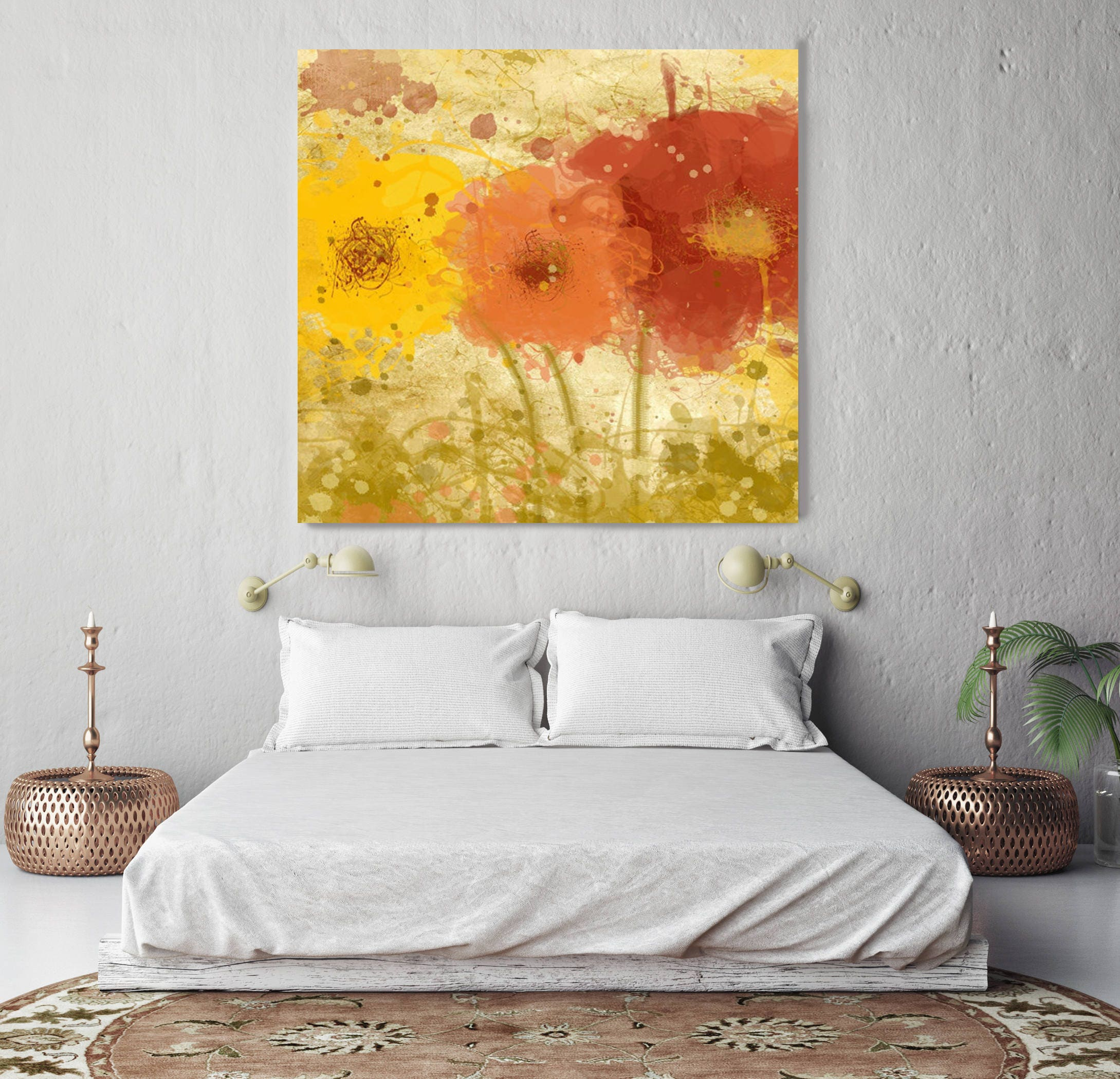 Trio Flowers. Floral Painting, Red Orange Yellow Abstract Art Large ...