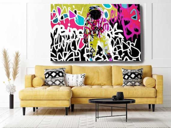 Astronaut Graffiti Art, Space Art, Graffiti Wall Art Space Art Painting Print on Canvas, Large Canvas Print, Astronaut Graffiti Canvas Print