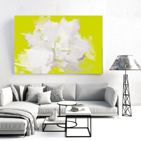 Soft and White. Floral Painting, White Abstract Art, Wall Decor, White Green Floral Painting White Flower Canvas Wall Decor Canvas Art Print