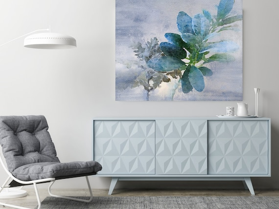 """Delicate Balance Watercolor Painting Blue Gray Plant Minimalist Art Botanical Drawing Rustic Large Canvas Art Print up to 48"""" by Irena Orlov"""