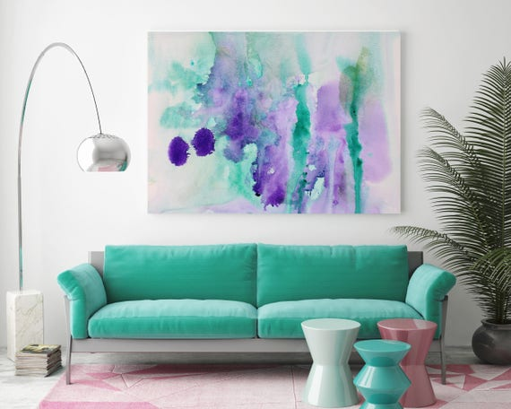 "Watercolor Coastal Abstract 40. Watercolor Abstract Blue Purple Green Canvas Art Print, Watercolor Painting Print up to 72"" by Irena Orlov"