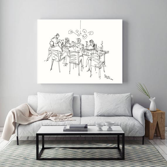 "Family Dinner, Sketch, People Illustration art print. White Black Large Canvas Art Print, Wall Decor up to 72"" by Zeev Orlov"