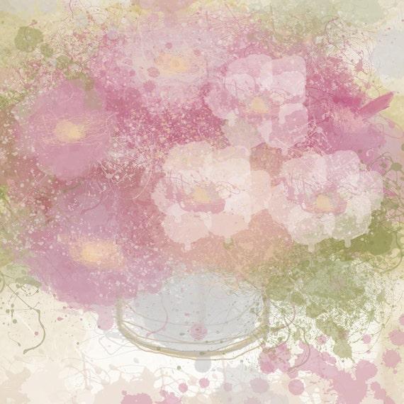 "Flowers in vase. Canvas Print by Irena Orlov 30x30"""