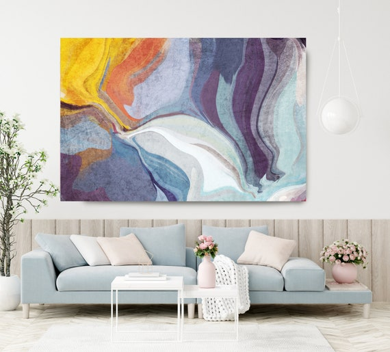Contemporary Art Abstract Painting Print Canvas Blue Yellow Abstract Art, Extra Large Canvas Print, Abstract Colorful Flows-121-55-32