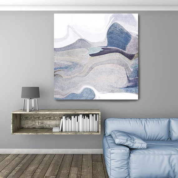 """In the Breeze, Art Abstract Print on Canvas up to 50"""", White Blue Gray Abstract Canvas Art Print by Irena Orlov"""