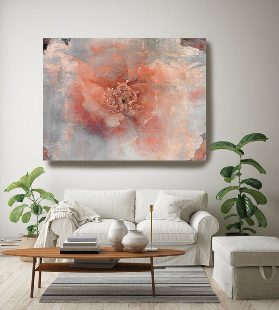 Coral Blue Floral painting, Shabby Chick Art, Floral Art, Floral Wall Art, Rustic Flowers Canvas Print, The Red Symphony, Farmhouse Wall Art