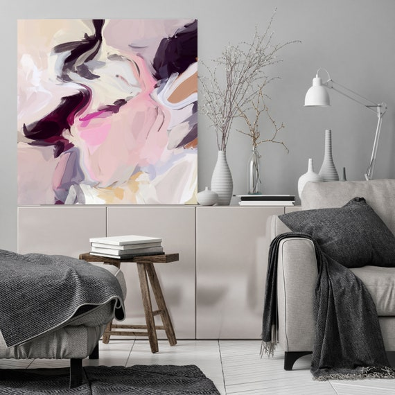 Quickly Blends Black Pink Pastel Abstract Painting, Original Painting Wall Decor, Large Abstract Pink Canvas Art Print Irena Orlov