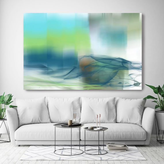 """Morning View of the Glistening ocean II. Extra Large Abstract Seascape Canvas Art Print UP TO 72"""", Blue, Green Ocean Canvas by Irena Orlov"""