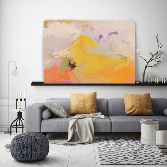 Degree of Independence 2-2, Pink Orange Yellow Abstract Painting, Abstract Painting,  Modern Art / Yellow Abstract Art Original Art