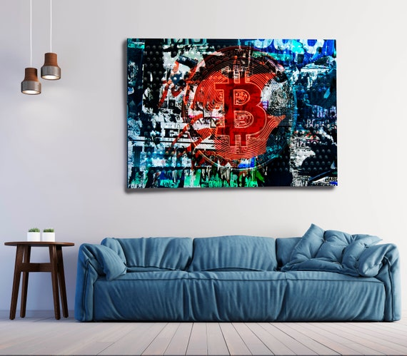 Blue Red Bitcoin Graffiti Abstract Canvas, Cryptocurrency Bitcoin Graffiti, Art Painting Print on Canvas, Bitcoin Graffiti Canvas Print