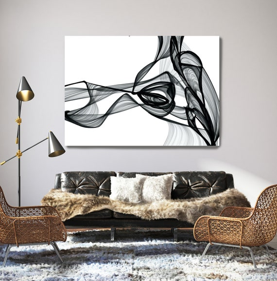 "Black And White Painting, Step Outside, New Media vs Painting. 45H x 60W"", Original New Media Abstract on Canvas"