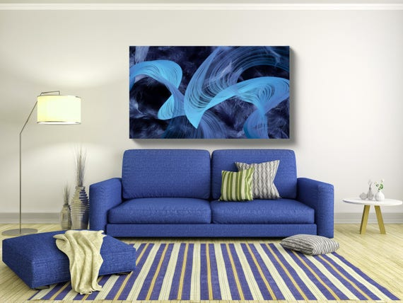 """Feather Breeze. Abstract New Media Art, Wall Decor, Extra Large Abstract Blue Green Canvas Art Print up to 72"""" by Irena Orlov"""