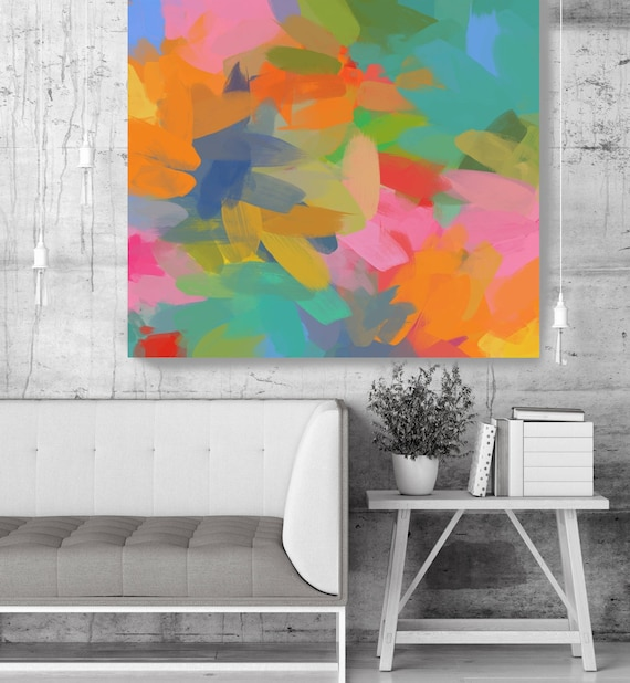 "Creative Flourishes #12. Green Pink Abstract Art, Wall Decor, Large Abstract Colorful Contemporary Canvas Art Print up to 48"" by Irena Orlov"