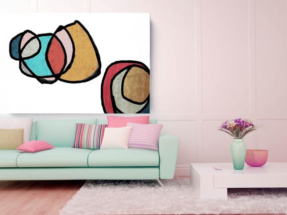 "Vibrant Colorful Abstract-0-36. Mid-Century Modern Brown Red Canvas Art Print, Mid Century Modern Canvas Art Print up to 72"" by Irena Orlov"