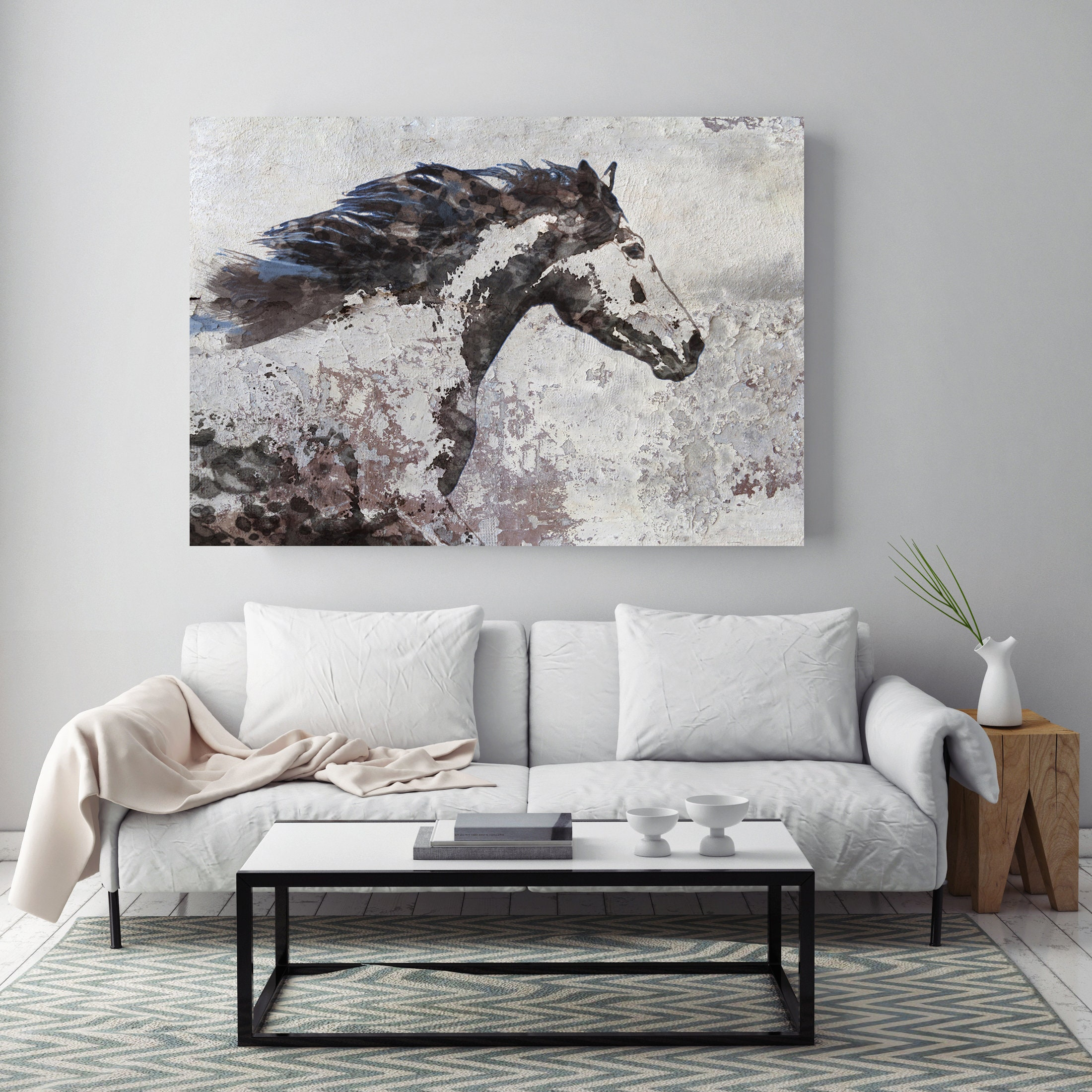 Brown Blue Majestic Horse 3 Brown And Black Horse Painting Print Art Animal Home Decor Wall Art Gift Contemporary