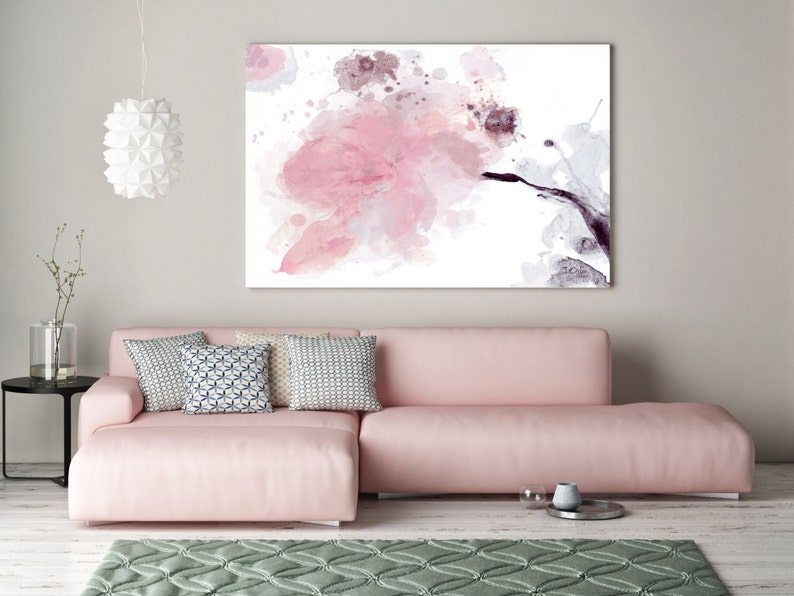 Timeless in Pink. Floral Painting Pink Abstract Art Wall image 0