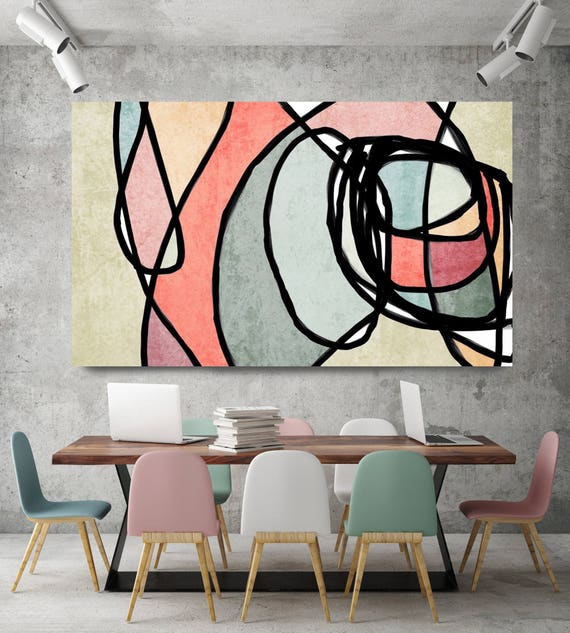 "Vibrant Colorful Abstract-0-44. Mid-Century Modern Green Pink Canvas Art Print, Mid Century Modern Canvas Art Print up to 72"" by Irena Orlov"