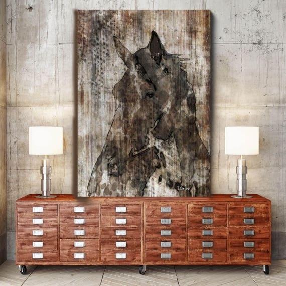 """Black Horse. Extra Large Horse, Unique Horse Wall Decor, Brown Rustic Horse, Large Contemporary Canvas Art Print up to 72"""" by Irena Orlov"""