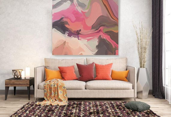 """From Day to day. Original One-of-a-kind Oil Painting on Canvas, Contemporary Abstract Pink, Brown Oil Painting up to 50"""" by Irena Orlov"""