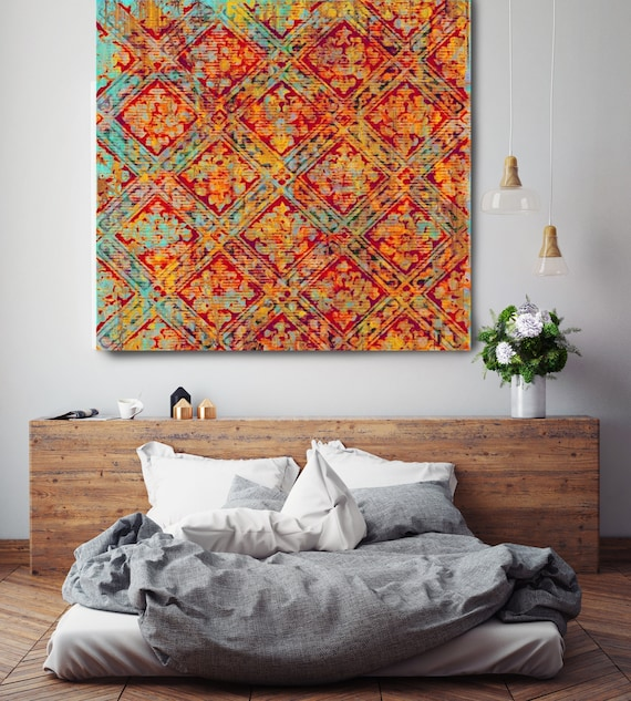 "French Garden. Geometrical Abstract Art, Wall Decor, Extra Large Orange Blue Pattern Contemporary Canvas Art Print up to 48"" by Irena Orlov"