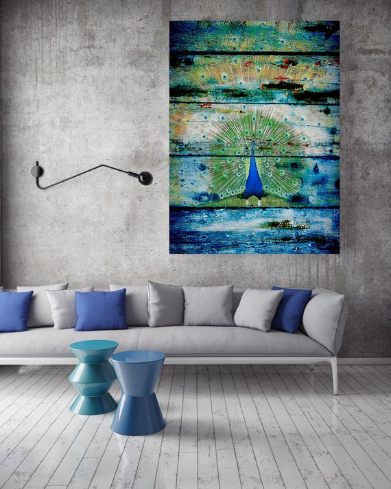 """Peacock 2.  Extra Large Rustic Peacock Blue Green Canvas Wall Art Print up to 72"""", Bird Rustic Canvas Wall Art Print Decor"""