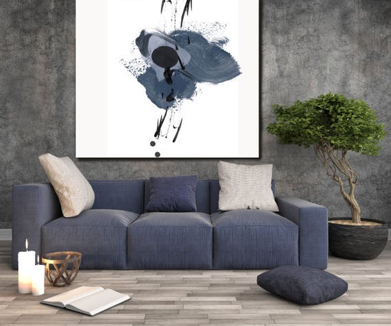 "Blue Splash 2. Abstract Paintings Art, Wall Decor, Extra Large Abstract Blue White Black Canvas Art Print up to 48"" by Irena Orlov"