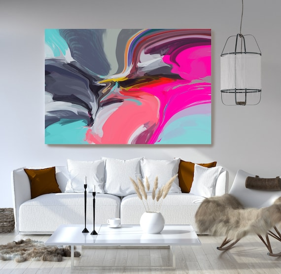 Pink Large Abstract Art, Colorful Art, Abstract Canvas Print Large Modern Abstract Blue Abstract Wall Art, Abstract Painting, Resilience