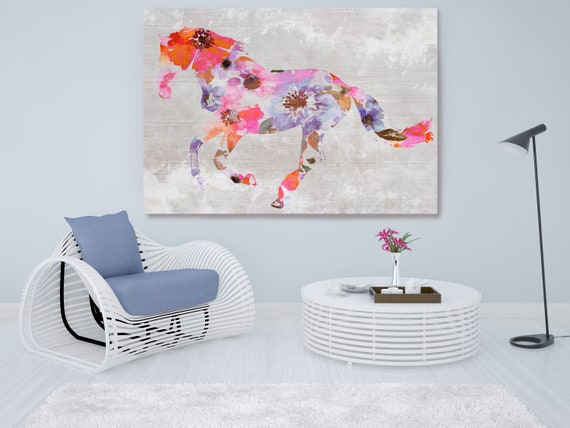 Colorful Floral Horse Painting Mixed Media Horse Painting Canvas Print BOHO Horse Floral Horse Art Large Canvas, Painted Horse Boho Wall Art