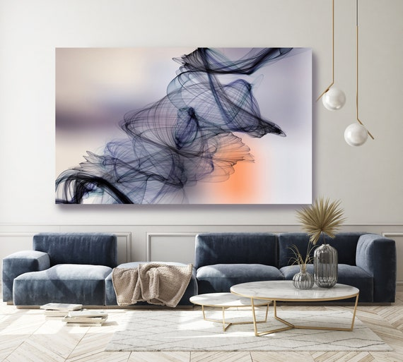 Blue Orange Abstract Painting Flow Abstract Art, Contemporary Canvas Art Print, New Media Artwork The Invisible World-Movement 3, Line Art