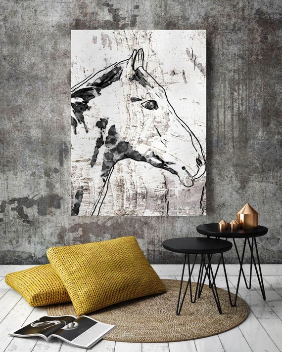 "Storm Horse. Extra Large Horse, Horse Wall Decor, Black and White Rustic Horse, Large Contemporary Canvas Art Print up to 72"" by Irena Orlov"