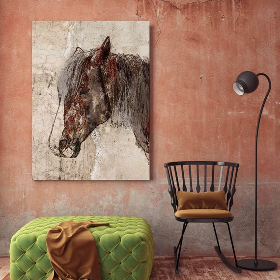 "Abstract Horse. Extra Large Horse, Horse Wall Decor, Brown Rustic Horse, Large Canvas Art Print up to 72"" by Irena Orlov"