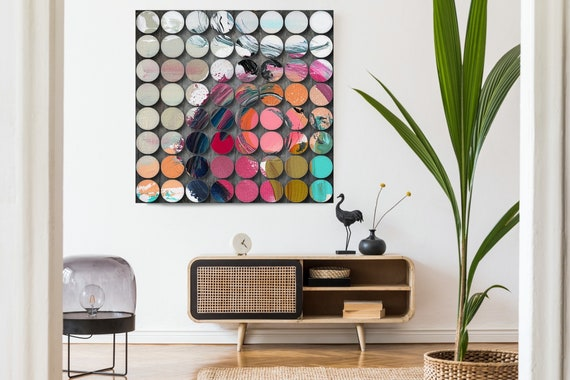 Geometric Abstract Painting, Circles Abstract Art, Pink WHITE MODERN, Large Canvas Art Print, Visual Experience 11, Abstract Canvas Print