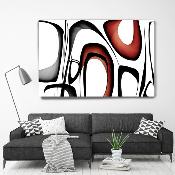 "Mid Century Abstract 1-4. Mid-Century Modern Red Black Canvas Art Print, Mid Century Modern Canvas Art Print up to 72"" by Irena Orlov"