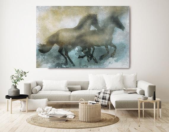 In perfect rhythm. Running Horses, Horse Canvas Print Art, Brown Rustic Horse, Farm House Wall Art, Horse Painting