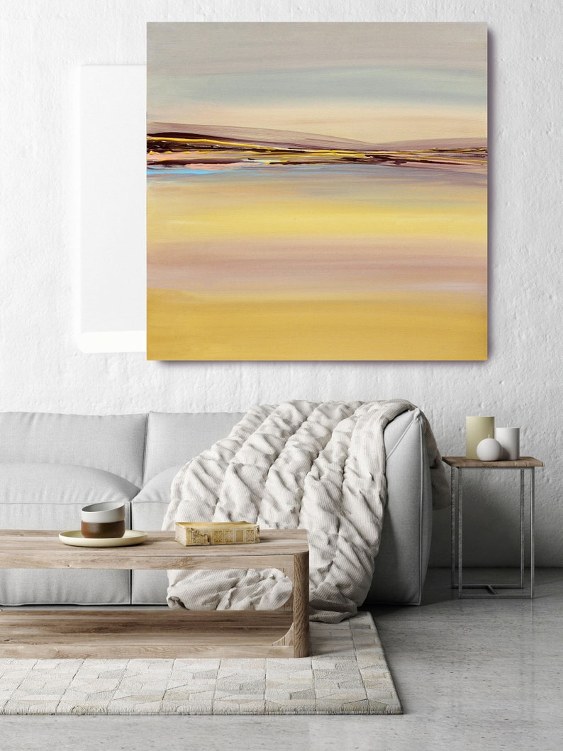Color Symphony Huge Rustic Landscape Painting Canvas Art Print Extra Large Yellow Brown Blue Canvas Art Print up to 50 by Irena Orlov