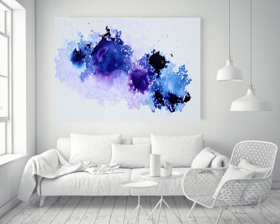 """Blue Purple and White Watercolor abstract splash 1, Extra Large Abstract Watercolor Canvas Art Print up to 72"""" by Irena Orlov"""