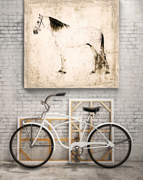 "White Horse. Extra Large Horse, Unique Horse Wall Decor, White Rustic Horse, Large Contemporary Canvas Art Print up to 72"" by Irena Orlov"