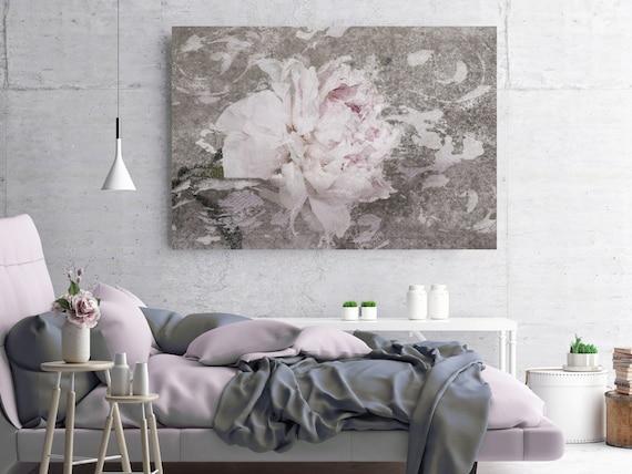 Blush Gray Spring Peony 1, Shabby Pink Gray Rustic Peony Painting, Shabby Chic Blush Peony Painting Canvas Art Print Floral Print Blush Pink