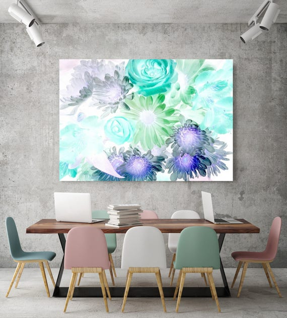 "Flowers smile and blow. Floral Painting, Green Purple Floral, Large Abstract Colorful Contemporary Canvas Art Print up to 72"" by Irena Orlov"