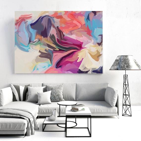 Unknown, Blue Pink Purple Painting, Abstract painting, Acrylic fluid painting original, Canvas Art Print, Fluid painting, Irena Orlov