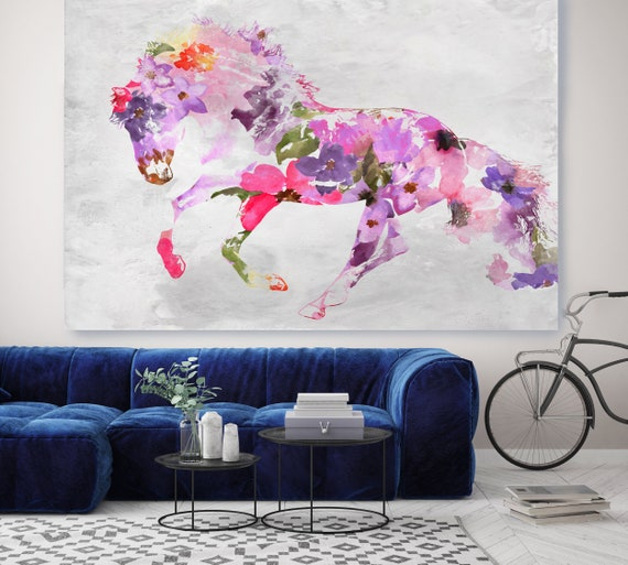 Beautiful Floral Horse BOHO Mixed Media Horse Painting Canvas Print BOHO Pink Floral Horse Art Large Canvas, Painted Horse Boho Wall Art