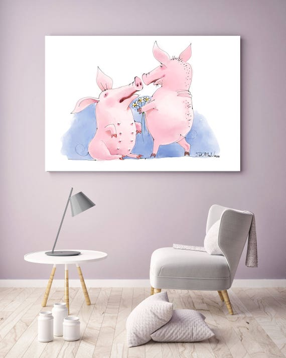 "Loving Pigs, Pigs Illustration art print. White Blue Pink Large Canvas Art Print, Wall Decor up to 72"" by Zeev Orlov"