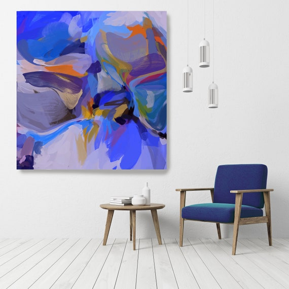 """City Of Yesterday, Art Abstract Print on Canvas up to 50"""", Green Orange Blue Abstract Canvas Art Print, Sunny City by Irena Orlov"""