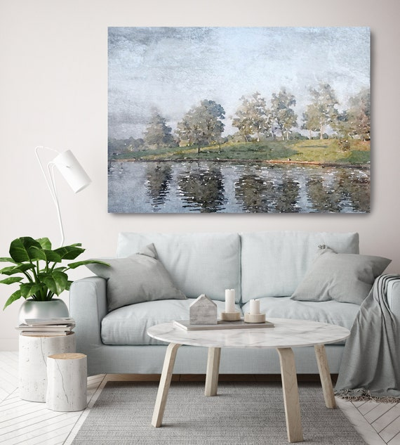 River watercolor Seascape Painting Canvas Print Landscape Art, Landscape Painting Print Fine Art Scene