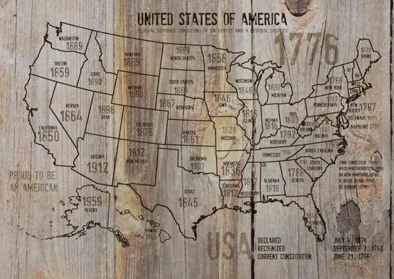 "Map of USA 1776-37. Canvas Print by Irena Orlov 24"" X 36"", large canvas art print, map canvas print, wall decor, office decor"