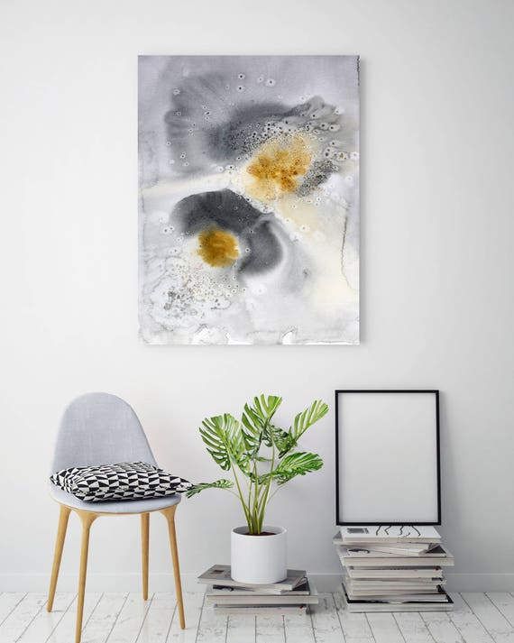 """Watercolor Symphony 139. Watercolor Abstract Yellow Black Canvas Art Print, Watercolor  Painting Print up to 72"""" by Irena Orlov"""